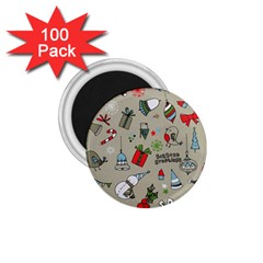 Christmas Xmas Pattern 1.75  Magnets (100 pack)