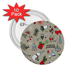 Christmas Xmas Pattern 2.25  Buttons (10 pack)