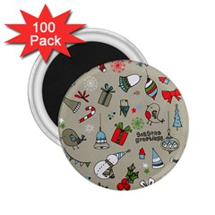 Christmas Xmas Pattern 2.25  Magnets (100 pack)