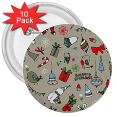 Christmas Xmas Pattern 3  Buttons (10 pack)