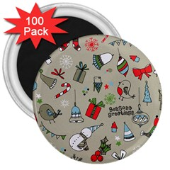 Christmas Xmas Pattern 3  Magnets (100 pack)