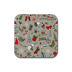 Christmas Xmas Pattern Rubber Square Coaster (4 Pack)