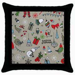 Christmas Xmas Pattern Throw Pillow Case (black)