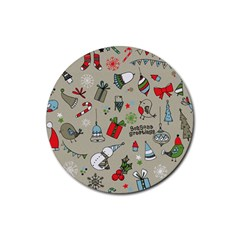 Christmas Xmas Pattern Rubber Round Coaster (4 pack)