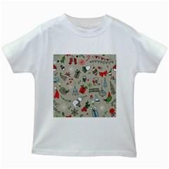 Christmas Xmas Pattern Kids White T Shirts