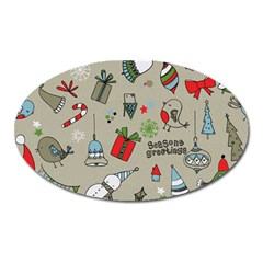 Christmas Xmas Pattern Oval Magnet