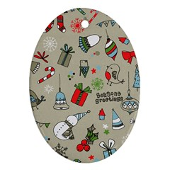 Christmas Xmas Pattern Oval Ornament (two Sides)