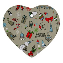 Christmas Xmas Pattern Heart Ornament (Two Sides)