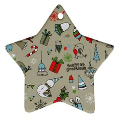 Christmas Xmas Pattern Star Ornament (Two Sides)