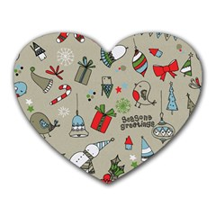 Christmas Xmas Pattern Heart Mousepads
