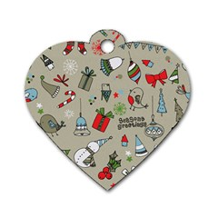 Christmas Xmas Pattern Dog Tag Heart (One Side)