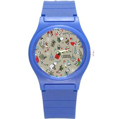 Christmas Xmas Pattern Round Plastic Sport Watch (S)