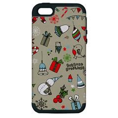 Christmas Xmas Pattern Apple iPhone 5 Hardshell Case (PC+Silicone)