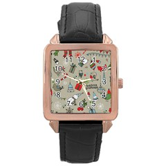 Christmas Xmas Pattern Rose Gold Leather Watch