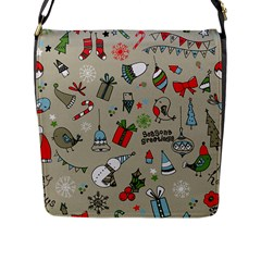 Christmas Xmas Pattern Flap Messenger Bag (l)