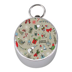 Christmas Xmas Pattern Mini Silver Compasses
