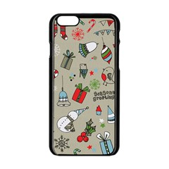 Christmas Xmas Pattern Apple iPhone 6/6S Black Enamel Case