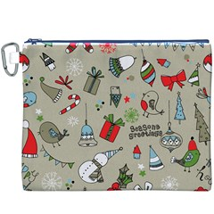 Christmas Xmas Pattern Canvas Cosmetic Bag (xxxl)