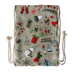 Christmas Xmas Pattern Drawstring Bag (large)