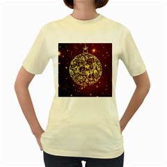 Christmas Bauble Women s Yellow T Shirt
