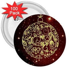 Christmas Bauble 3  Buttons (100 pack)