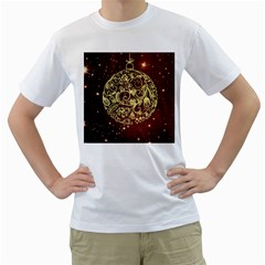 Christmas Bauble Men s T-Shirt (White) (Two Sided)