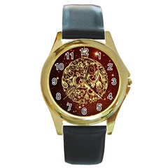 Christmas Bauble Round Gold Metal Watch