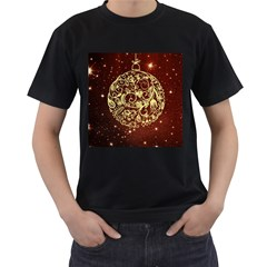 Christmas Bauble Men s T Shirt (black) (two Sided)