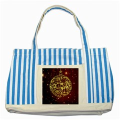 Christmas Bauble Striped Blue Tote Bag
