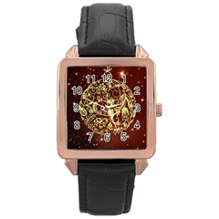 Christmas Bauble Rose Gold Leather Watch