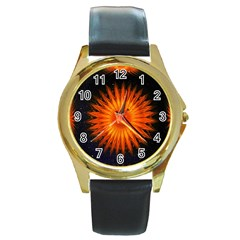 Christmas Card Ball Round Gold Metal Watch