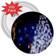 Christmas Card Christmas Atmosphere 3  Buttons (100 Pack)