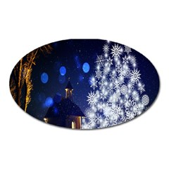 Christmas Card Christmas Atmosphere Oval Magnet