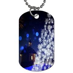 Christmas Card Christmas Atmosphere Dog Tag (One Side)