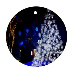 Christmas Card Christmas Atmosphere Round Ornament (Two Sides)