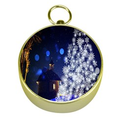 Christmas Card Christmas Atmosphere Gold Compasses