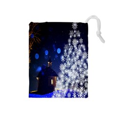 Christmas Card Christmas Atmosphere Drawstring Pouches (medium)