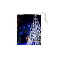 Christmas Card Christmas Atmosphere Drawstring Pouches (xs)