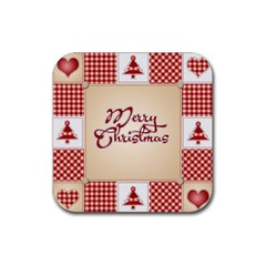 Christmas xmas Patterns Pattern Rubber Square Coaster (4 pack)