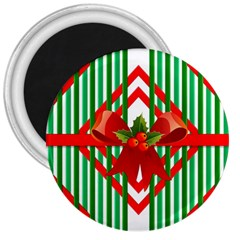 Christmas Gift Wrap Decoration Red 3  Magnets