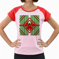 Christmas Gift Wrap Decoration Red Women s Cap Sleeve T-Shirt