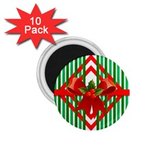 Christmas Gift Wrap Decoration Red 1.75  Magnets (10 pack)