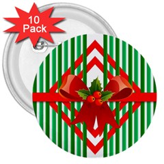 Christmas Gift Wrap Decoration Red 3  Buttons (10 pack)