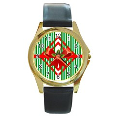 Christmas Gift Wrap Decoration Red Round Gold Metal Watch