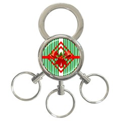 Christmas Gift Wrap Decoration Red 3-Ring Key Chains