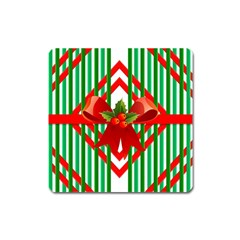 Christmas Gift Wrap Decoration Red Square Magnet