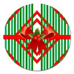 Christmas Gift Wrap Decoration Red Magnet 5  (round)