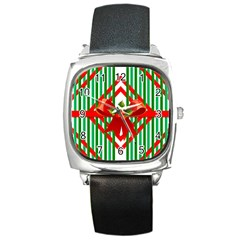 Christmas Gift Wrap Decoration Red Square Metal Watch