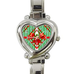 Christmas Gift Wrap Decoration Red Heart Italian Charm Watch