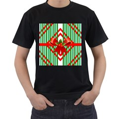 Christmas Gift Wrap Decoration Red Men s T-Shirt (Black) (Two Sided)